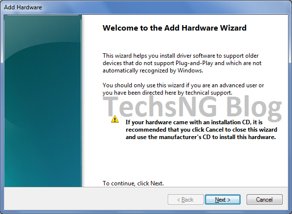 Add hardware wizard on windows 7