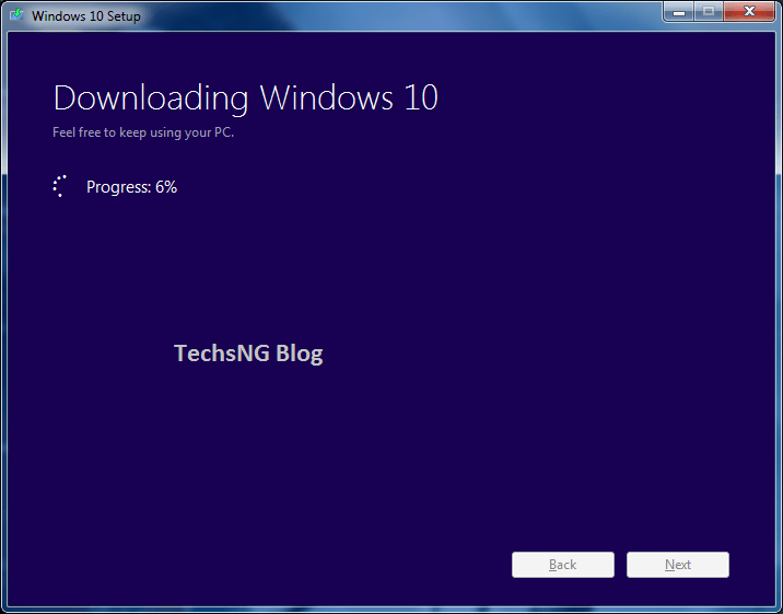 downloading windows 10 set up on PC