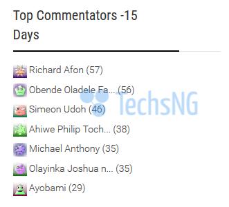 top commentators on techsng blog
