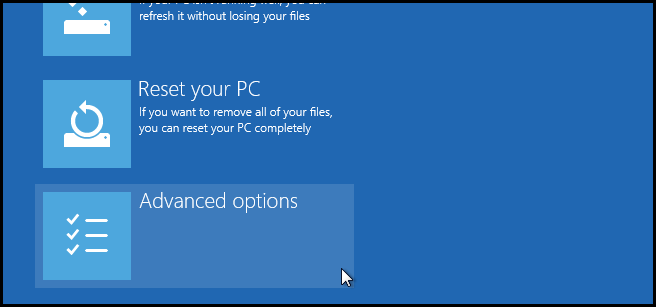 advanced options on computer
