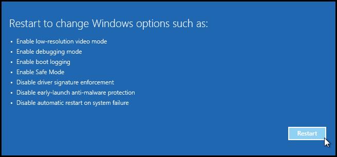 restart options on computer running windows 10