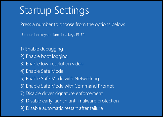 startup settings configuration on computer