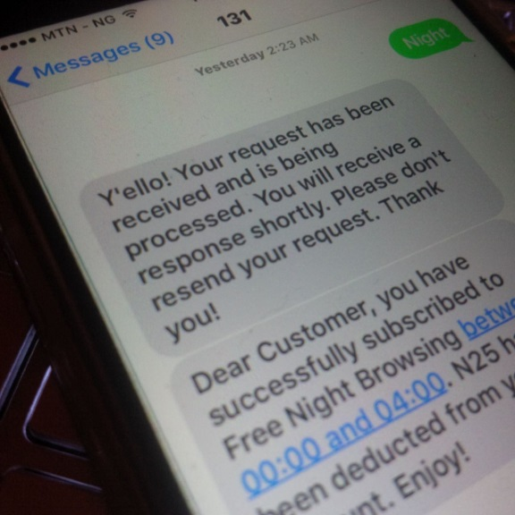 mtn night data plan subscription successful