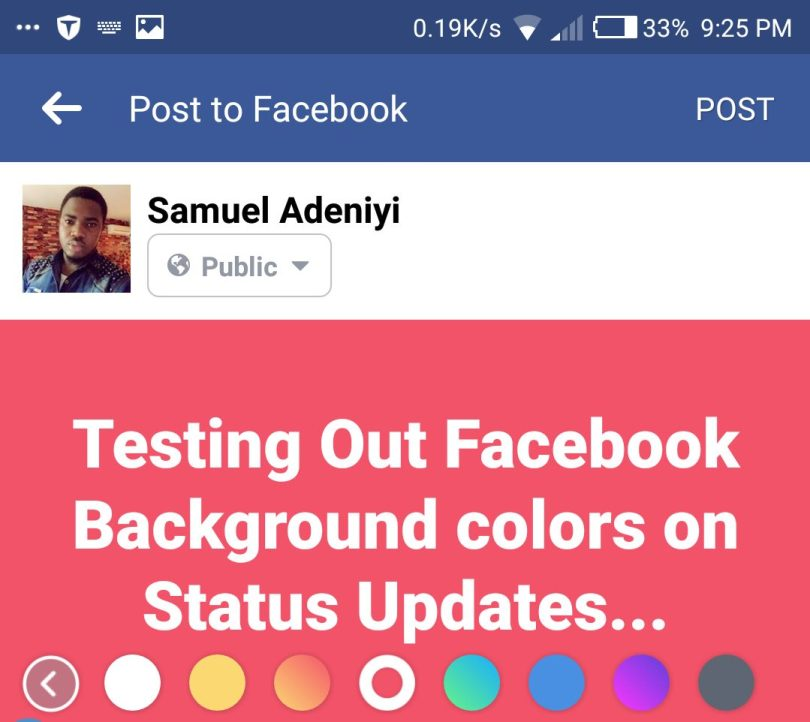 Background color applied to facebook status update