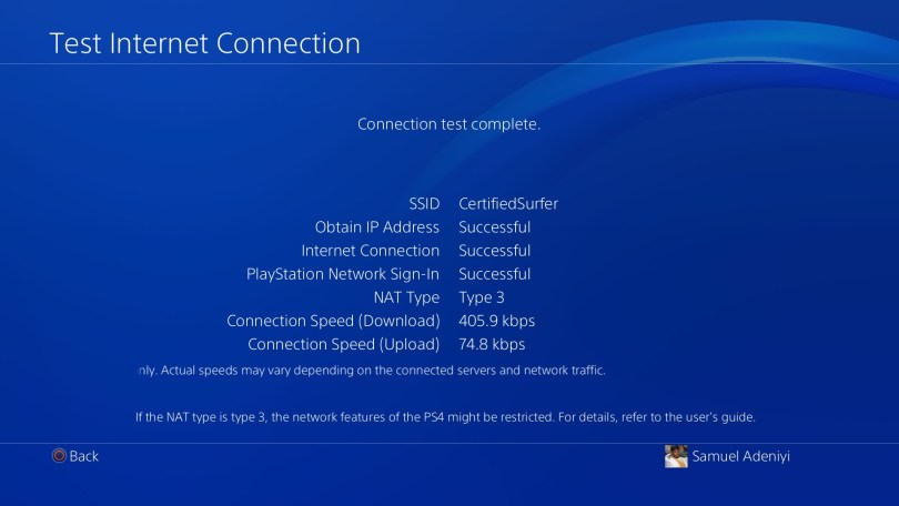 Successfully connected to Playstation Network