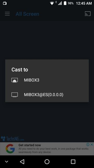 cast options on phone