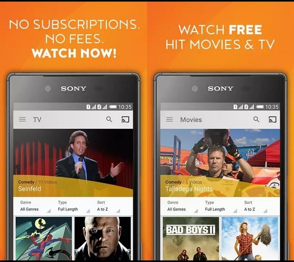 Crackle app for streaming tv channels, movies and shows