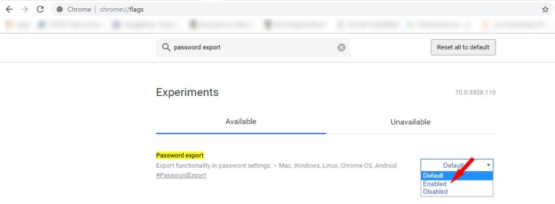 chrome password export settings