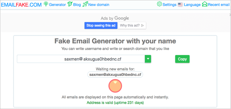 EmailFake fake email address generator