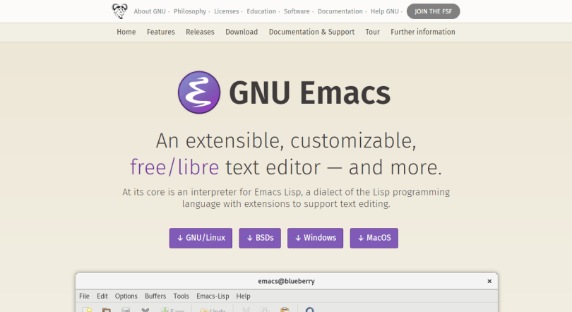 Emacs text editor for MacOS