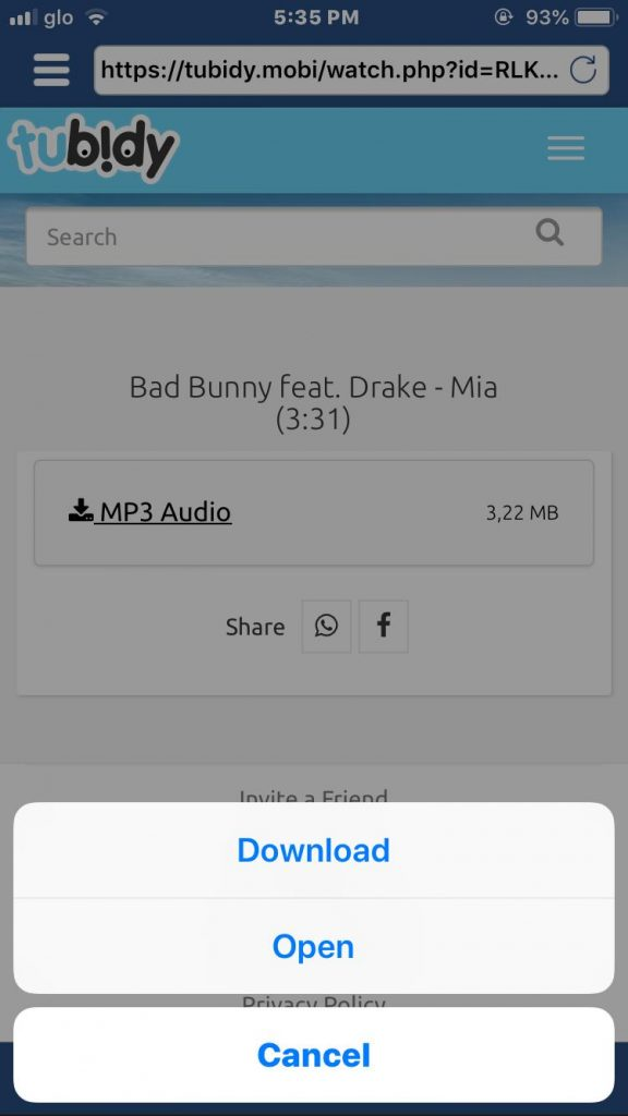option to download mp3 music file to iPhone from tubidy