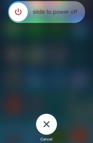زر ايقاف التشغيل في iOS 7.1