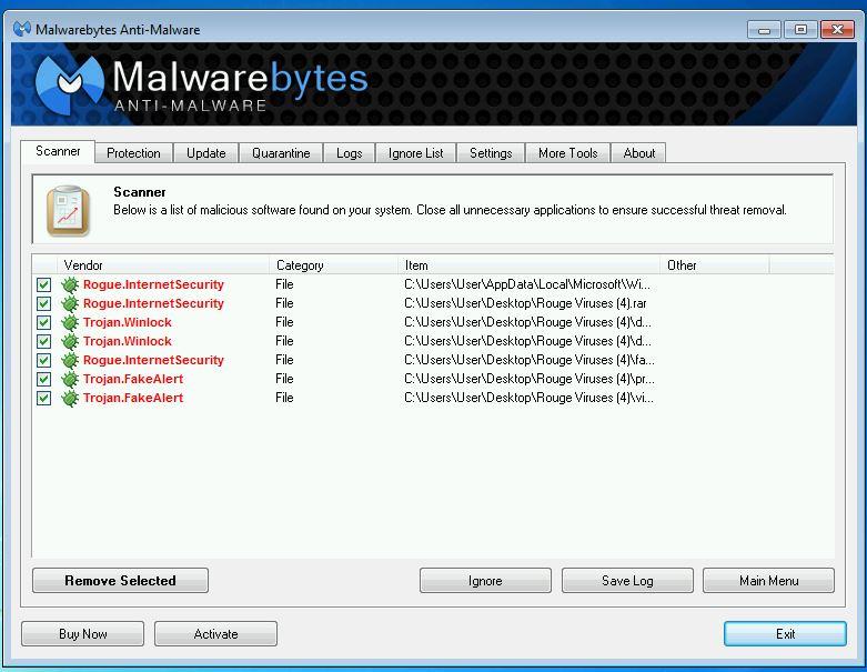 Malwarebytes found Viruses