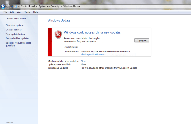 Error Code 8024800A