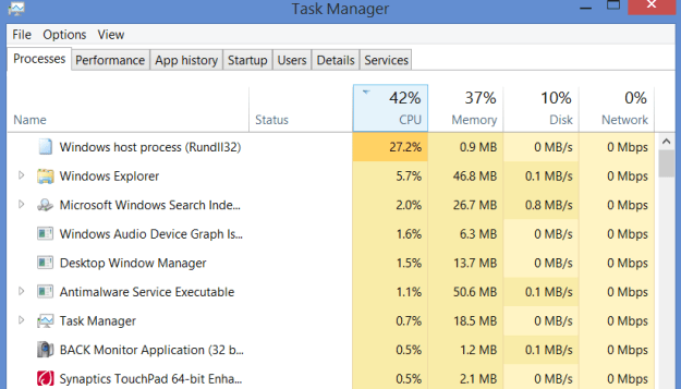 Task Manager Windows 8.1 Rundll32.exe