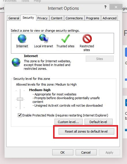 Reset Internet Explorer Security
