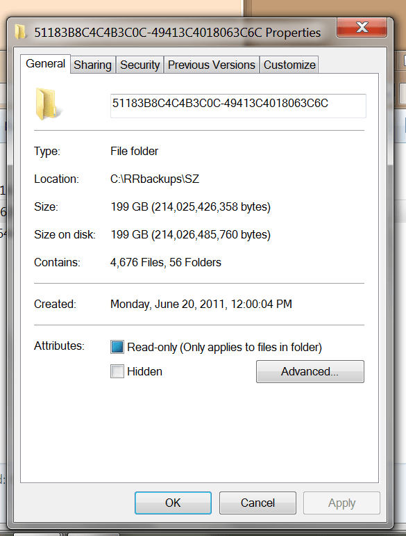 RRBackups Folder Lenovo
