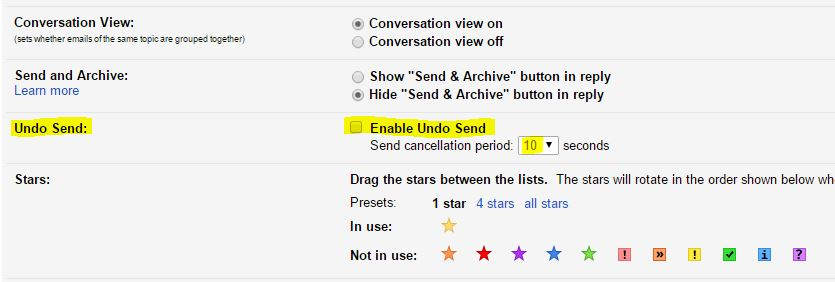 Undo Setting Gmail