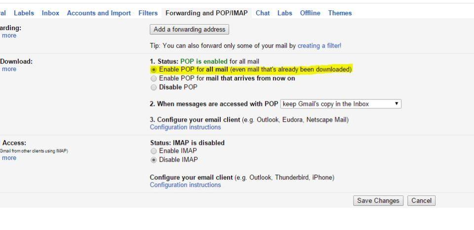 Gmail POP3/IMAP Settings