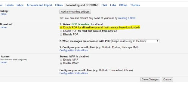 Gmail POP3/IMAP Settings