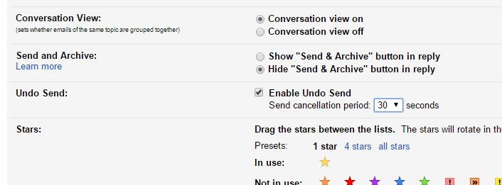 Gmail Undo Send Settings
