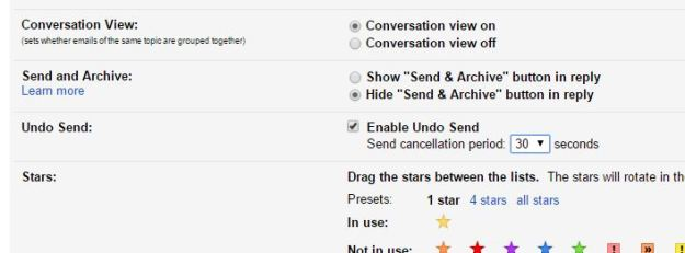 Gmail Undo Send Settings