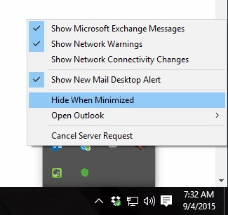 Outlook Minimized Setting