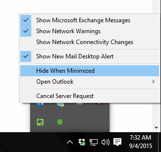 Outlook Minimized Setting