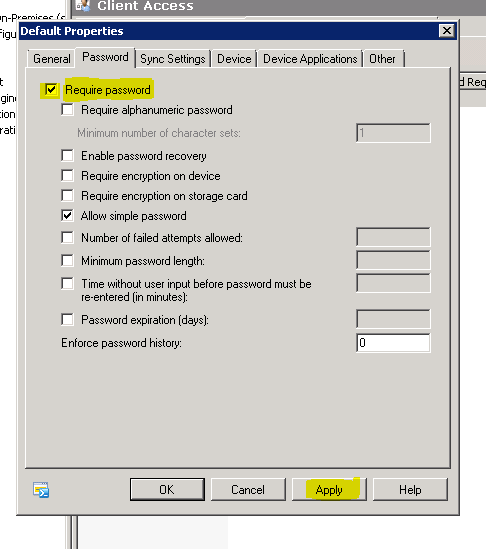 Exchange 2010 Device Password Policy