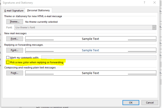 Outlook Stationary Change