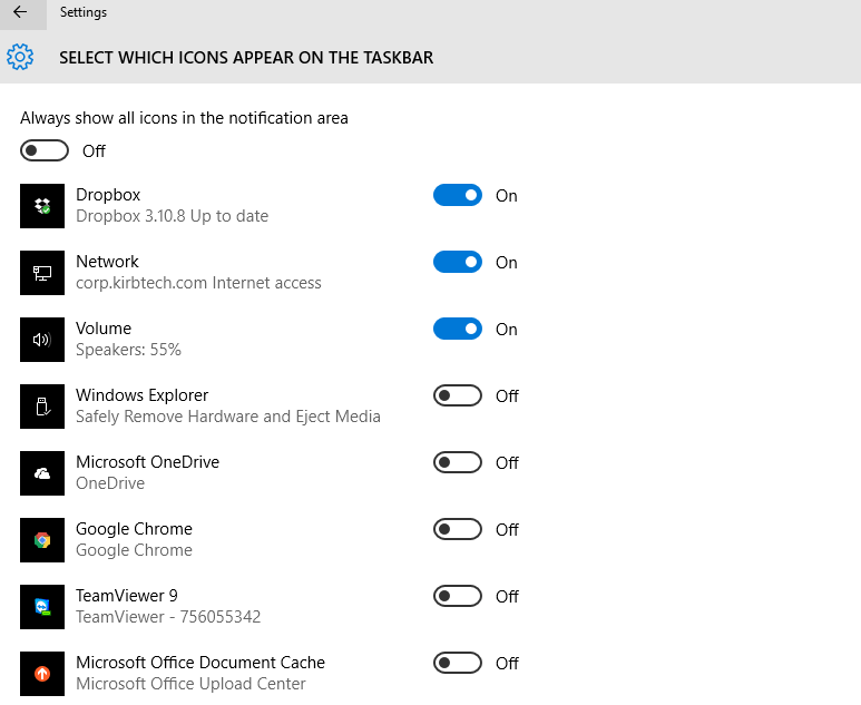Windows 10 Taskbar Notification Center