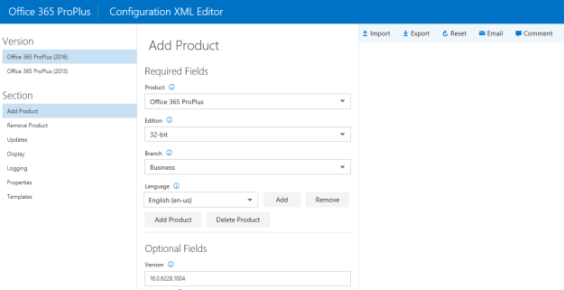 Office 365 Configuration XML Editor