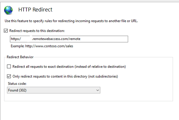 HTTP Redirect IIS