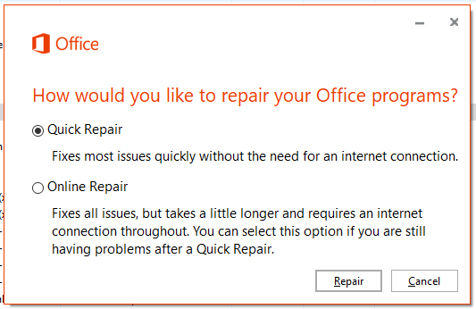 Quick Repair of Office 2016