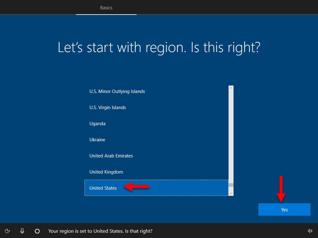 Select the region