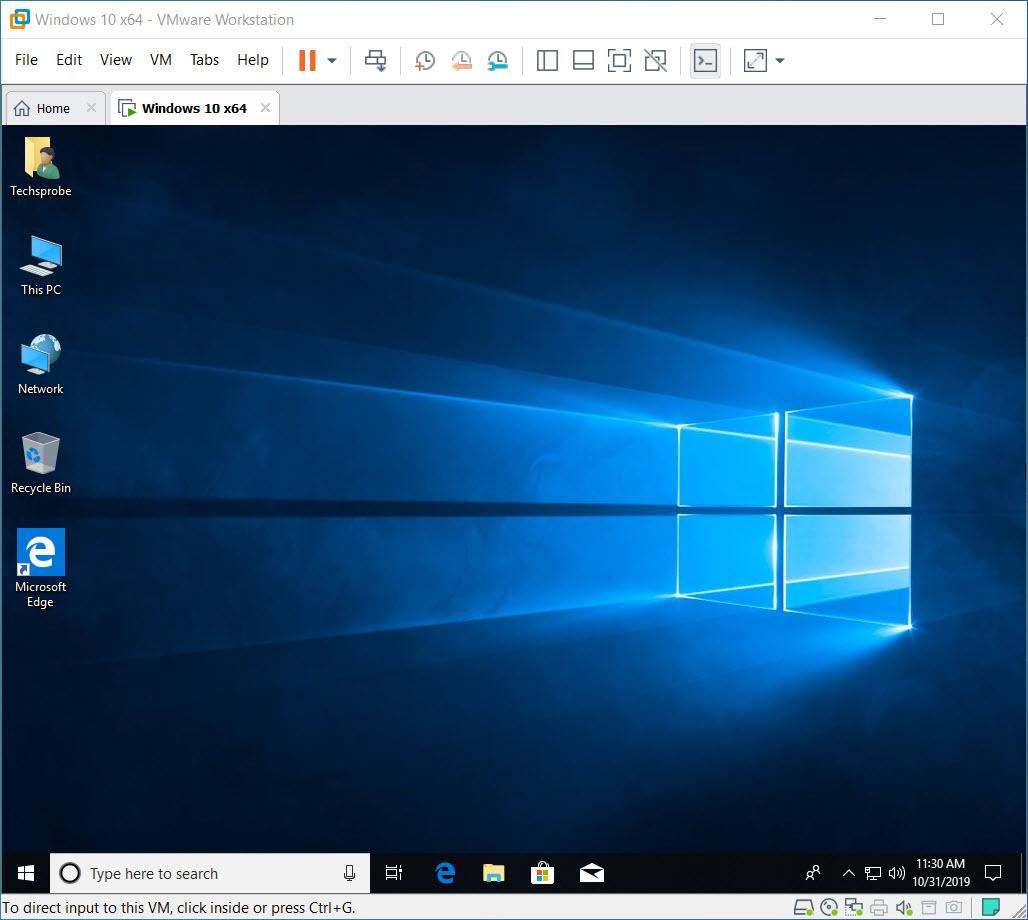 Window 10 on VMware Workstation