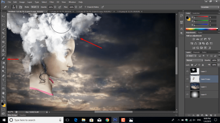 Using eraser tool