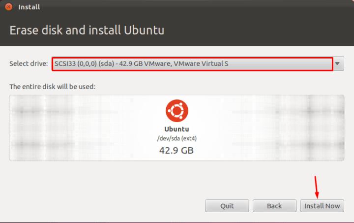 Erase disk and install Ubuntu