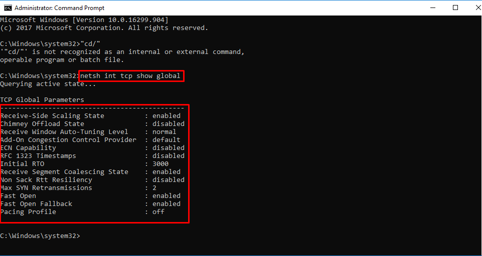 netsh int TCP show global