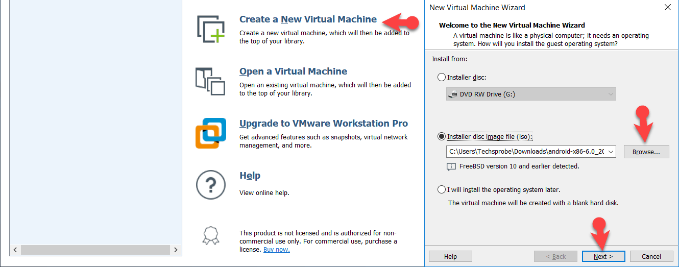 Create a new Virtual guest machine