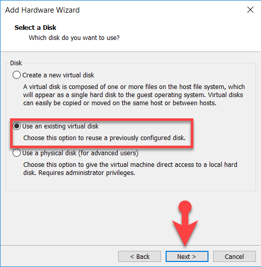 Select disk type