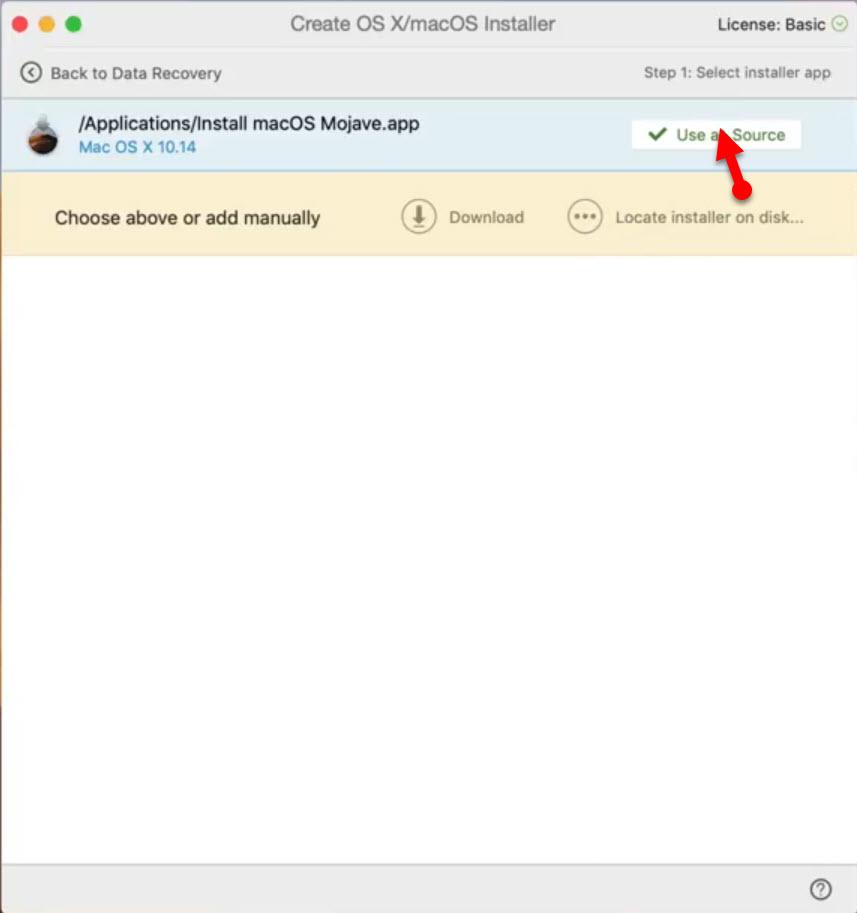 Select MacOS Mojave image file