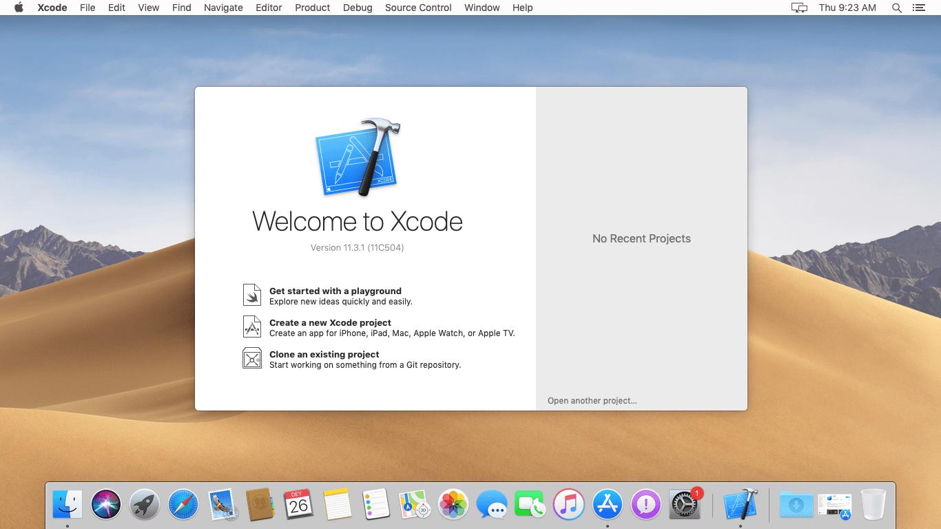 XCode on macOS Mojave