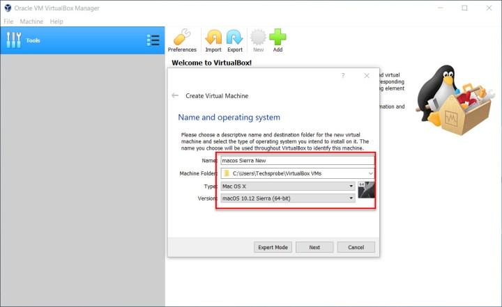 Create a new virtual machine for macOS Sierra