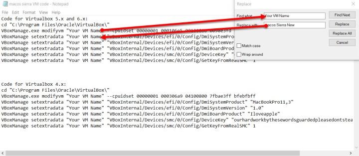 Edit VM code names