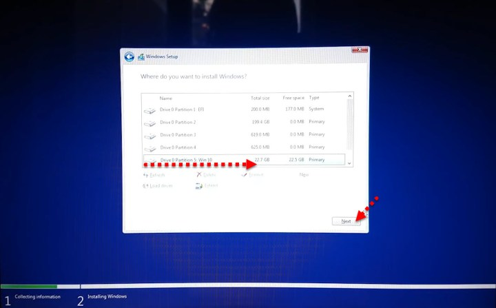 Choose drive for installation