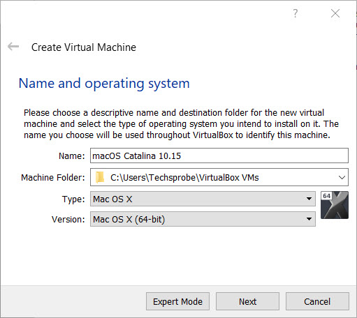 Select a name for operating system