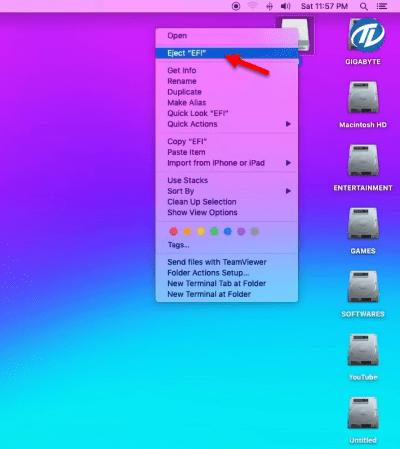 Eject EFI folder