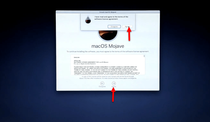 Agree to terms and condition of macOS Mojave