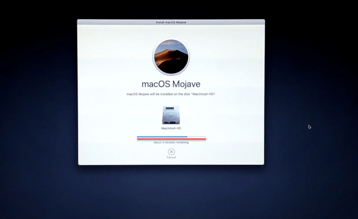 macOS Mojave is installing